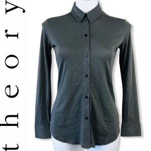 Theory Riduro Neo Slub Cotton Button Front Shirt P